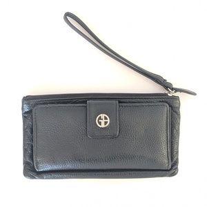 Genuine Leather Black wristlet wallet